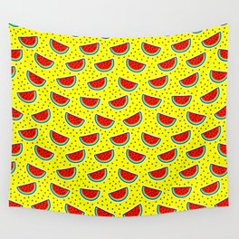 Watermelon on yellow Wall Tapestry