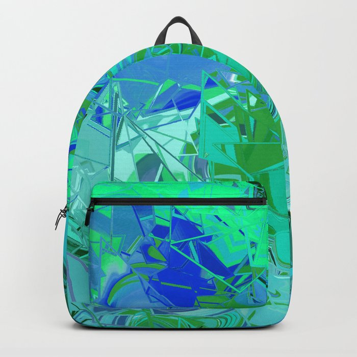 Blue Green Fractured Paint Swirls Backpack