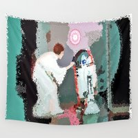 leia Wall Tapestries featuring leia skywalker and R2d2 by grapeloverarts