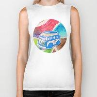 vw bus Biker Tanks featuring VW Bus Campervan by Carrie at Dendryad Art