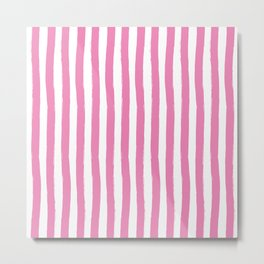 Pink and White Cabana Stripes Palm Beach Preppy Metal Print