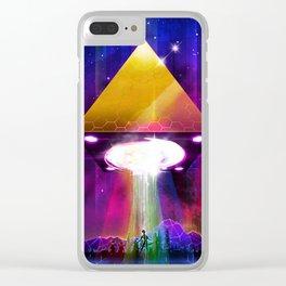 Abduction (Tetra) - Retrowave Synth UFO Illuminati Clear iPhone Case