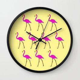 Flamingos in yellow Wall Clock
