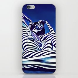 9135-KMA Blue Nude  Woman Striped with Shadow and Light iPhone Skin