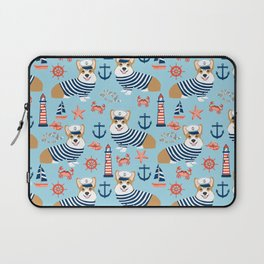 Corgi nautical sailor dog cute pet costume portrait welsh corgis Laptop Sleeve