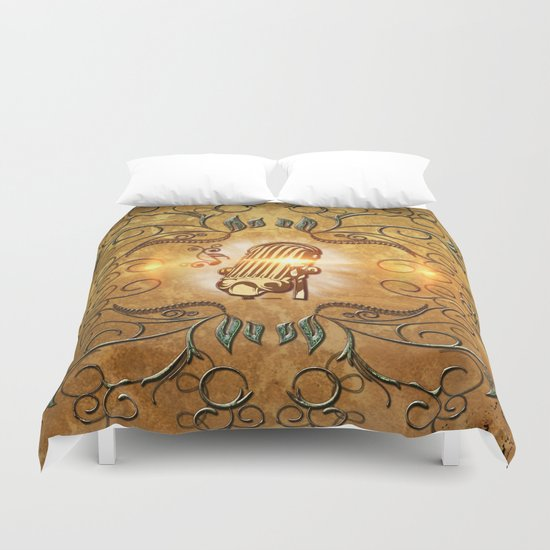 Music, microphone Duvet Cover