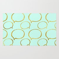 gold foil Area & Throw Rugs featuring Mint Gold Foil 01 by Aloke Design