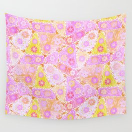 Pastel Patchwork Flower Garden, Soft Lavender, Lilac Purple and Pink Floral Quilt Repeat Pattern Wall Tapestry