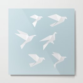 Origami White Blue Birds Abstract Metal Print