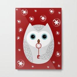 Christmas owl on red Metal Print