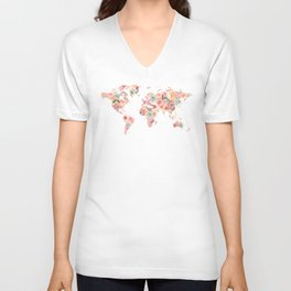 Floral Watercolor World Map - Pink, Coral, Aqua Flowers Unisex V-Neck