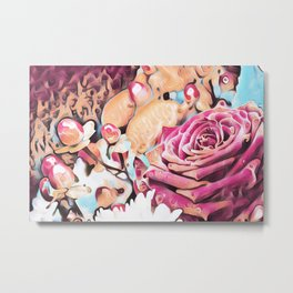 Textured illustration with rose and berries Metal Print