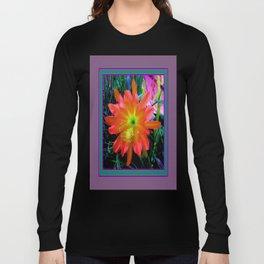 Yellow-Orange Tropical Jungle Flower Teal- Puce  Art  Long Sleeve T-shirt