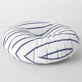 Pantone Blue Depths 19-3940 Hand Drawn Horizontal Lines on White Floor Pillow