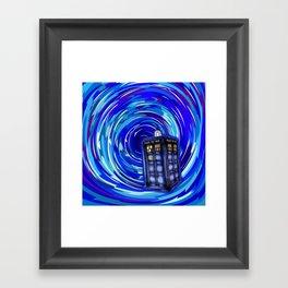 Blue Phone Box with Swirls Framed Art Print