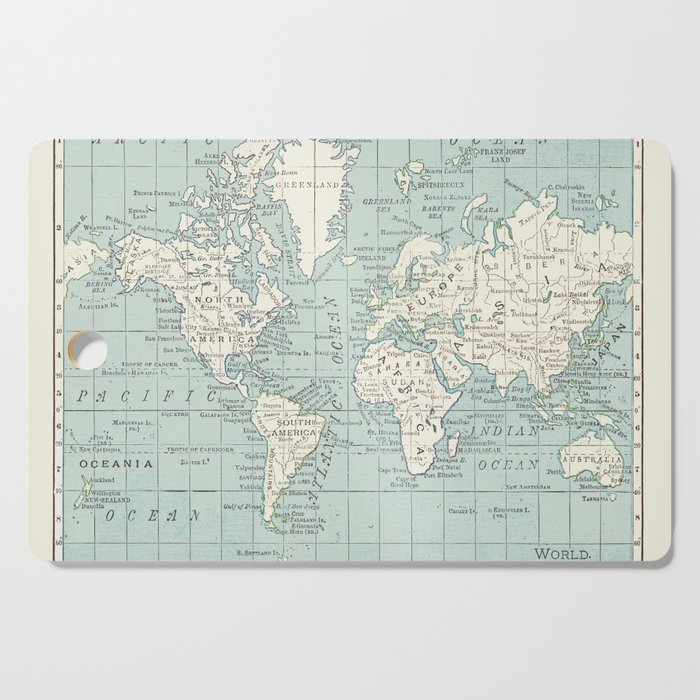World Map In Blue And Cream Cutting Board By Catherineholcombe
