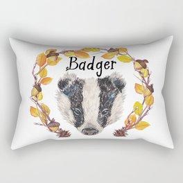 Watercolour Woodland Badger Face Rectangular Pillow
