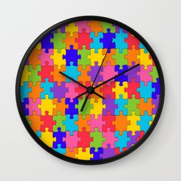 Multicolored Jigsaw Puzzle Wall Clock