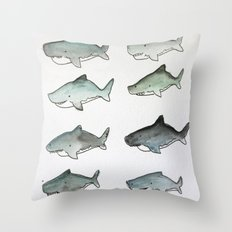 Cute Watercolor Sharks - Ocean Watercolor Art Throw Pillow