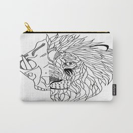 half lion skull, half lion face  Carry-All Pouch