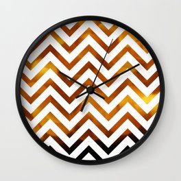 Golden Chevrons Wall Clock