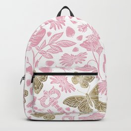 Elegant Rosewater Pink Gold Butterfly Floral Pattern Backpack