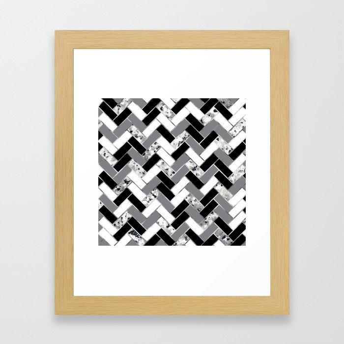 Shuffled Marble Herringbone - Black/White/Gray/Silver Framed Art Print