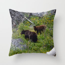 Black bear sow & cub in Jasper National Park| Canada Throw Pillow