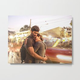 The Lovers | Timeless Night Scene Couple Embrace Romantic Hug Bright City Lights Long Exposure Metal Print