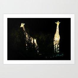 Christmas At The Living Desert Zoo - Giraffe Family Art Print
