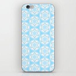 Shiny light blue winter star snowflakes pattern iPhone Skin