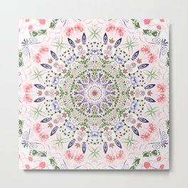 Pink Toned Vintage Healing Mandala Metal Print