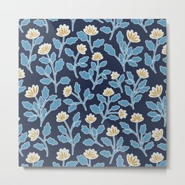 Vintage Style Floral | Navy and Blue Metal Print