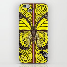 Yellow & Grey Celtic Monarch Butterfly Brown Art iPhone Skin