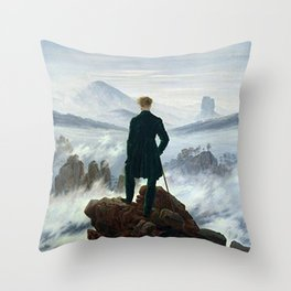 Wanderer above the Sea of Fog Painting by Caspar David Friedrich Throw Pillow