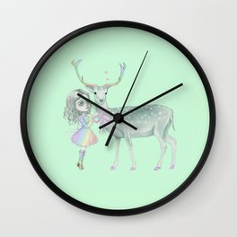 Nature spirit deer and the little child Wall Clock