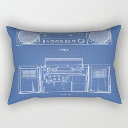 Boombox blue Rectangular Pillow