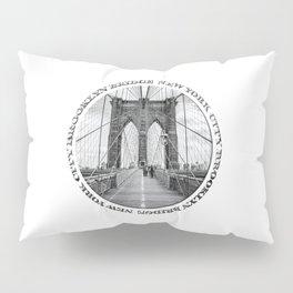 Brooklyn Bridge New York City (black & white badge emblem) Pillow Sham
