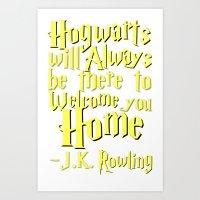 hogwarts Art Prints featuring Hogwarts by Thg Fashion