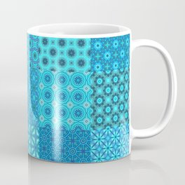 Blue Patchwork Quilt with 25 different tiled patterns Coffee Mug