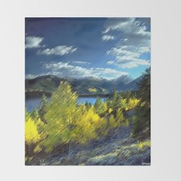 Aspen Trees at Twin Lakes, Colorado Painting by Jeanpaul Ferro Throw Blanket