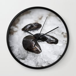 Fresh  mussels ready for cooking on ice Wall Clock