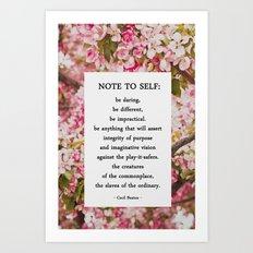 note to self. Art Print