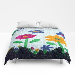 Butterflies and spring flowers bubble art Comforters