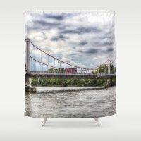 chelsea Shower Curtains featuring Chelsea Bridge London by David Pyatt