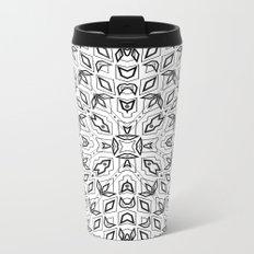 Pattern, geometric 3, black, white Metal Travel Mug