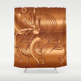 Magical Kokopelli in Burnt Orange Shower Curtain