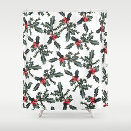 Christmas  Forest Green Red Holly Berries Folliage Shower Curtain