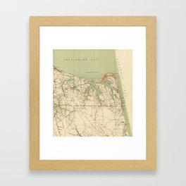 Vintage Map of Virginia Beach & Cape Henry (1918) Framed Art Print