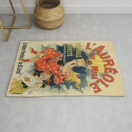 Vintage French lamp oil ad by Chéret Rug